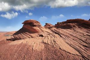 The picturesque cliffs of red sandstone. photo