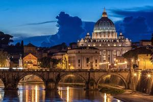 St. Peter's Basilica at night in Rome, Italy
