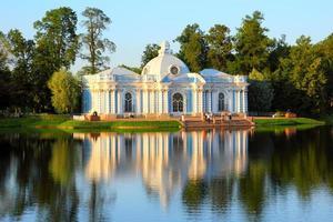pavilion on lake in Pushkin park St. Petersburg photo