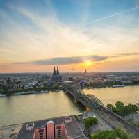 Sunset view of cologne in summer