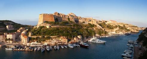 Bonifacio fortifications and harbor, Corsica, France photo