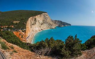 Scenic and unique beach Porto Kaziki at Levkada island, Greece photo