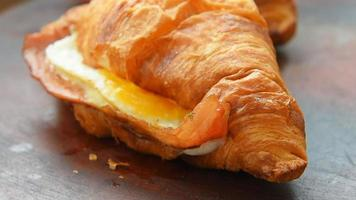 Crunchy ham and cheese croissant with honey mustard glaze