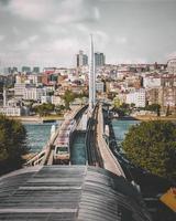 Taking the train bridge to the city