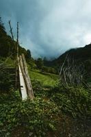 Green grass field near mountain under stormy sky
