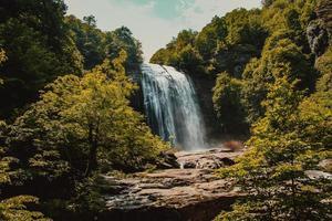 Waterfalls under sunny sky