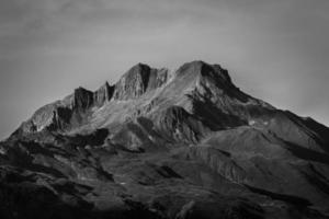 Grayscale of rocky mountains