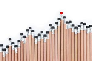 Wooden pencils placed like a graph on white background