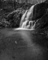 Grayscale of waterfall