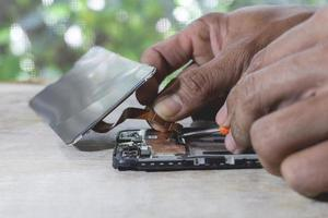 Close-up of phone repair