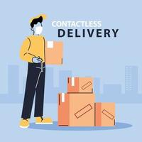 Male courier in a mask delivers boxes vector