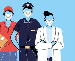 Various occupations people wearing face masks vector