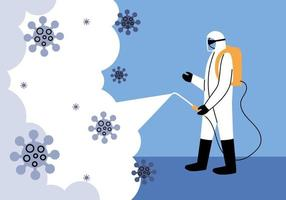 Man wears protective suit, disinfection by coronavirus