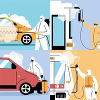 hombres con traje de protección desinfectan vehículos