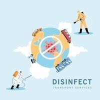 hombres con traje de protección desinfectan vehículos vector
