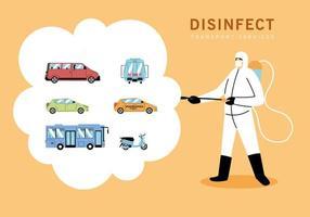hombre vestido con traje de protección desinfecta vehículos