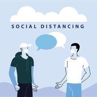 Men talk with distance to prevent coronavirus