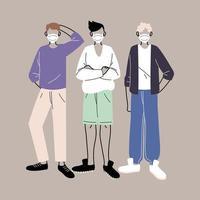 hombres con mascarillas protectoras médicas