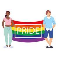 personas con bandera del orgullo lgbtq vector
