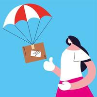 Woman catching parcel box falling down with parachute