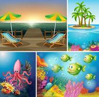 conjunto de escena de playa y océano
