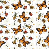 Different insects seamless pattern