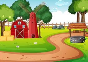 granero y molino de viento en la escena de la granja
