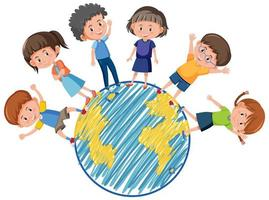 Many kids on globe