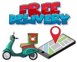 entrega gratuita con entrega de moto vector