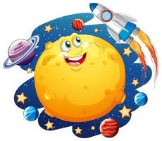 luna con cara feliz en el tema de la galaxia espacial