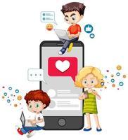 niños con elementos de redes sociales.