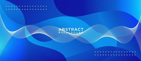 Geometric Blue Wave Shape Abstract Background