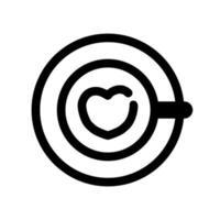 café con icono de contorno de corazón vector