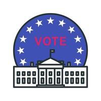 icono de voto del edificio del gobierno vector