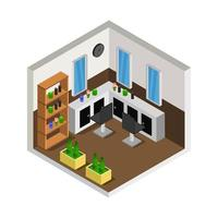 Isometric barber shop room