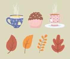 Tea cups, muffin and autumn leaves vector