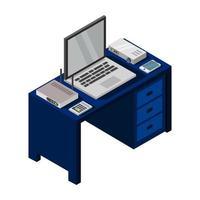 escritorio isométrico azul vector