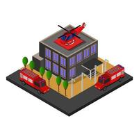 Isometric fire station