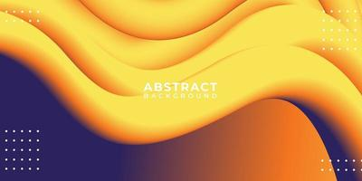 Blended Yellow Color 3D Fluid Abstract Wave Background vector