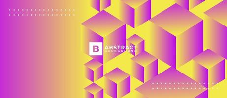Multicolor Yellow Pink 3D Geometric Box Abstract Background vector
