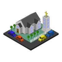 edificio de la iglesia isométrica vector