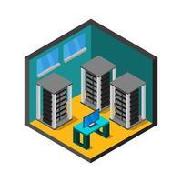 sala de servidores isométrica sobre fondo blanco vector