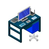 escritorio de oficina isométrico azul vector