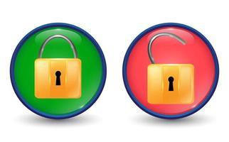 establecer ilustración de llave con bloqueo y desbloqueo vector