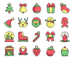 Set icons for christmas with color vector