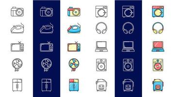 Set icons for electronics with color vector