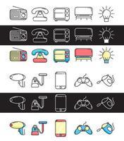 establecer iconos electrónicos con color y estilo de línea vector