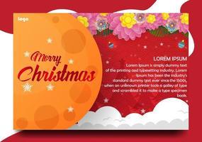 banner de paisaje o navidad con color rojo