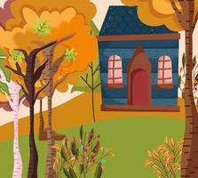 Cute house on Autumn season vector