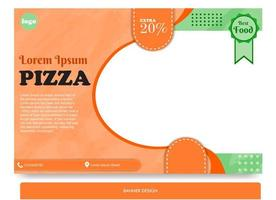 Banner design for pizza with full of color vector